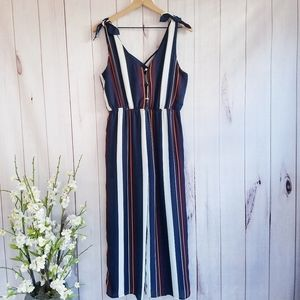 Sienna Sky Striped Jumpsuit With Pocket Size M